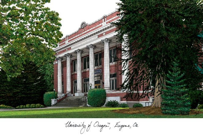 University of Oregon Campus Images Lithograph Print
