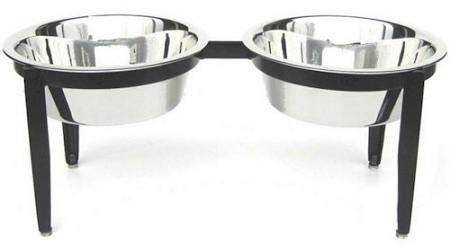 PetsStop Visions Double Elevated Dog Bowl - Medium - RDB17-M