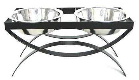 PetsStop SeeSaw Double Elevated Dog Bowl - Small/Black - RDB18