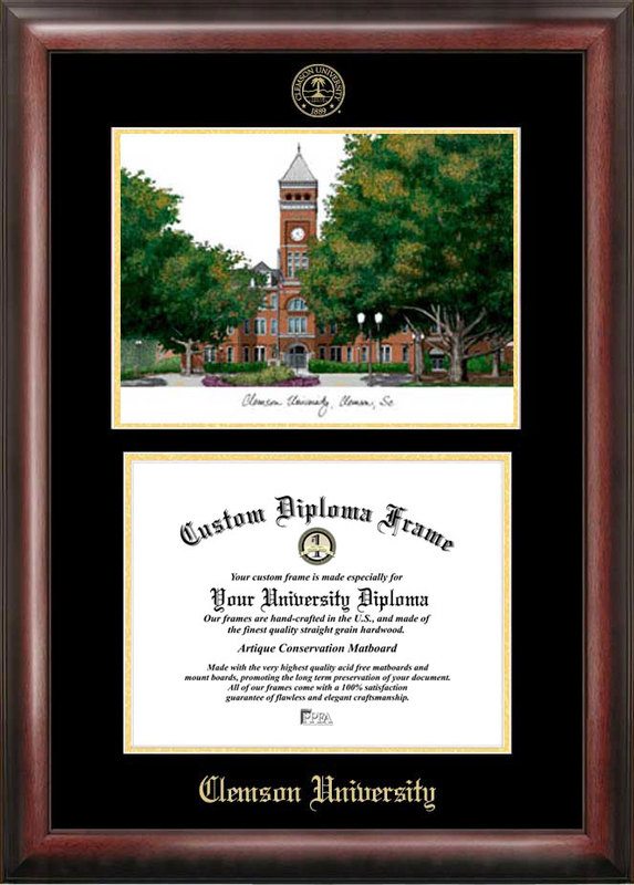 Clemson University Gold embossed diploma frame with Campus Images lithograph