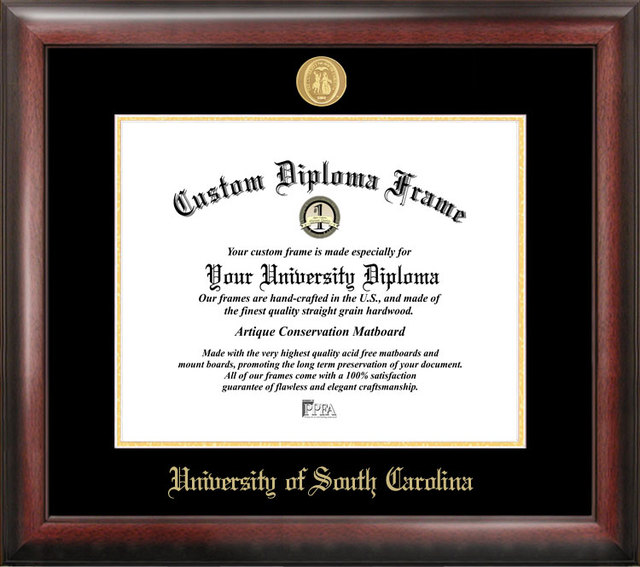 University of South Carolina Gold Embossed Diploma Frame