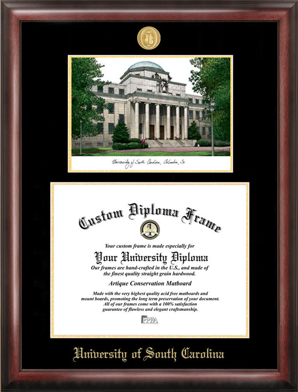 University of South Carolina Gold embossed diploma frame with Campus Images lithograph