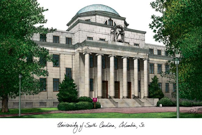 University of South Carolina Campus Images Lithograph Print