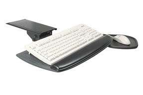 Keyboard tray system with AURORA XT Phenolic tray & teardrop mouse tray