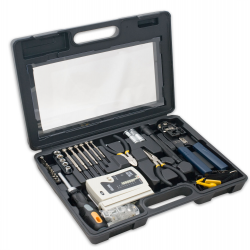 SYBA 50 Piece Computer Network Installation Tool Kit with Multi-Module Cable Tester - SY-ACC65047