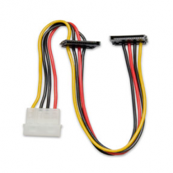 SYBA 12� Molex 4-Pin to 2x 15-Pin Right Angle SATA Power Cable - SY-CAB40018