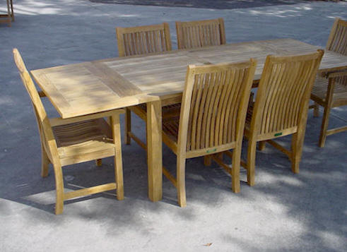 Anderson Teak Bahama 95 Inch Rectangular Table + Double Leaf Extensions
