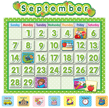 Polka Dot School Calendar Bb Board - TCR4188 - TCR4188