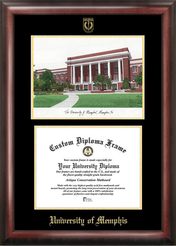 University of Memphis Gold embossed diploma frame with Campus Images lithograph
