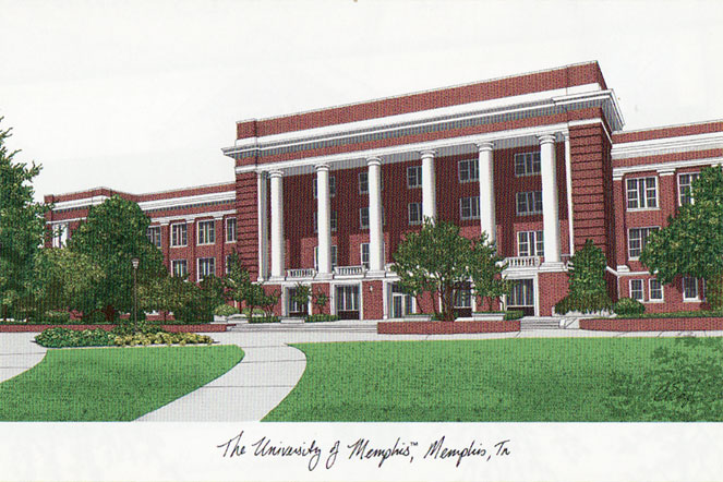 University of Memphis Campus Images Lithograph Print