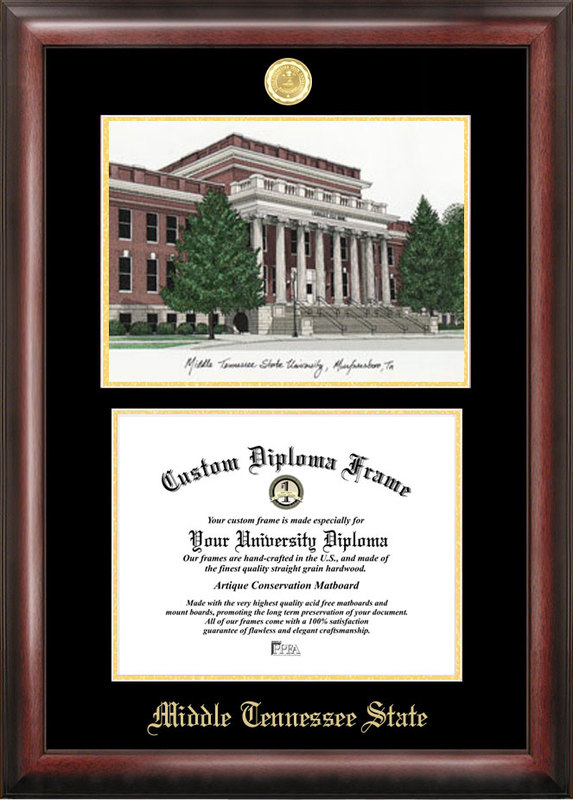 Middle Tennessee State Gold embossed diploma frame with Campus Images lithograph
