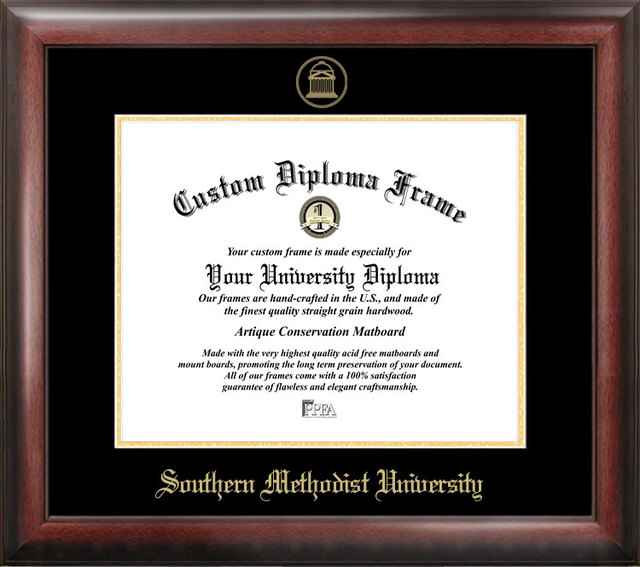 Southern Methodist  University Gold Embossed Diploma Frame