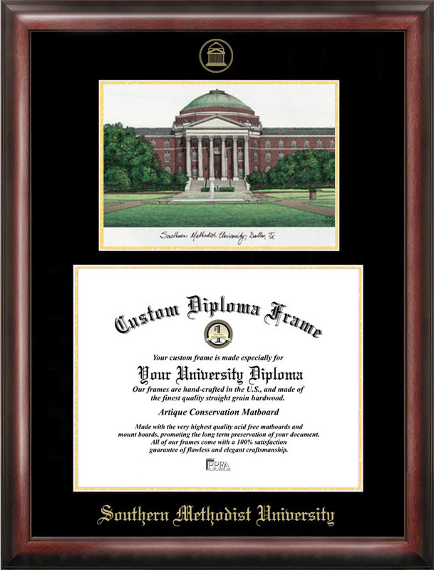 Southern Methodist  University Gold embossed diploma frame with Campus Images lithograph