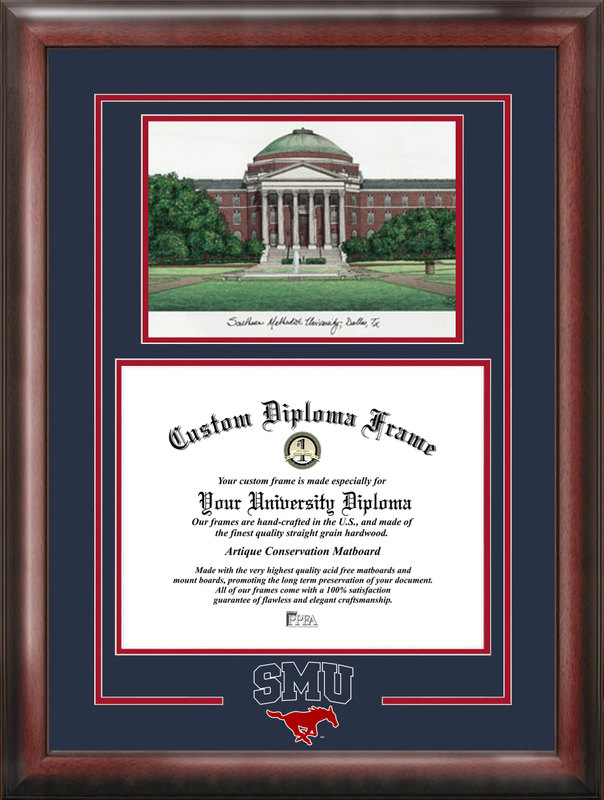 Southern Methodist  University Spirit Graduate Frame with Campus Image