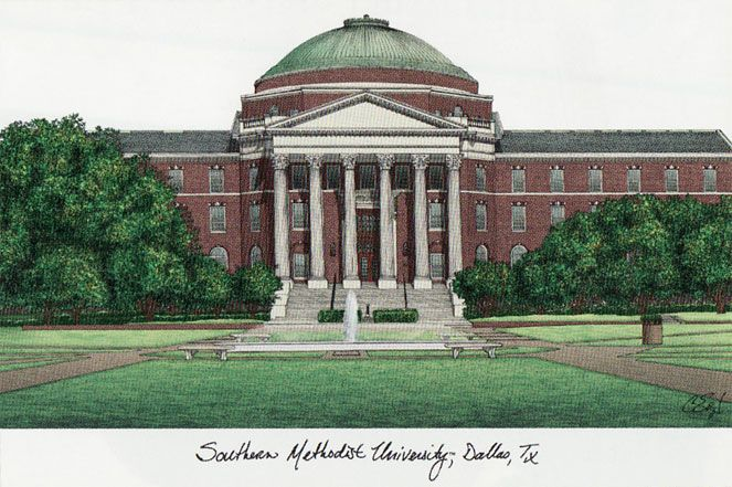 Southern Methodist  University Campus Images Lithograph Print