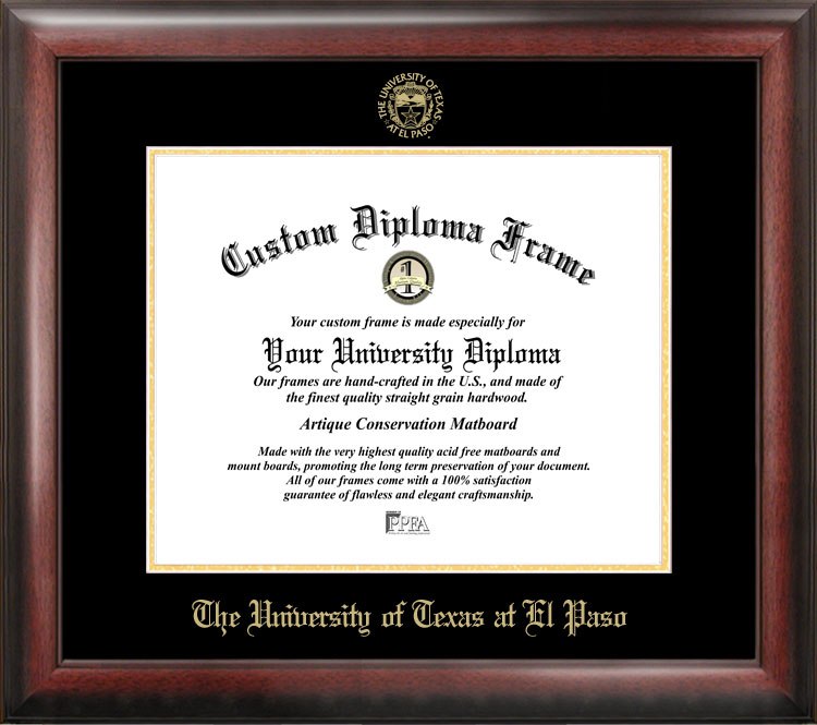 University of Texas, El Paso Gold Embossed Diploma Frame