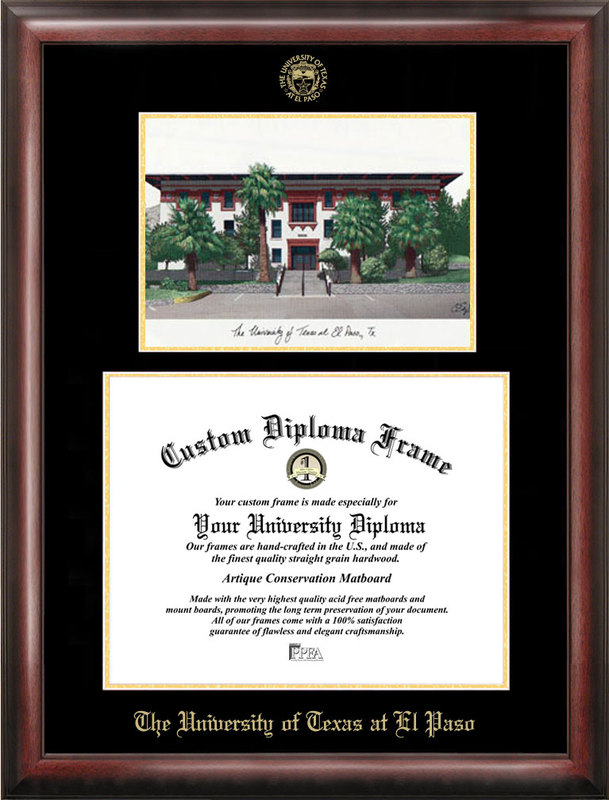 University of Texas, El Paso Gold embossed diploma frame with Campus Images lithograph