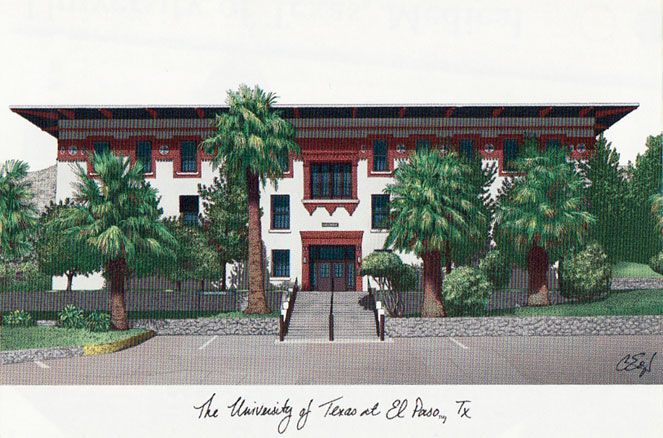 University of Texas, El Paso Campus Images Lithograph Print