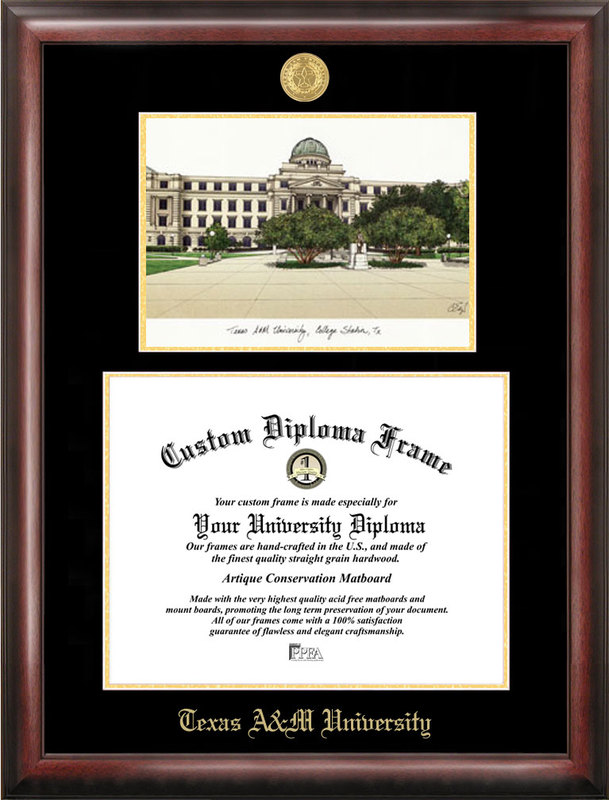 Texas A&M University Gold embossed diploma frame with Campus Images lithograph