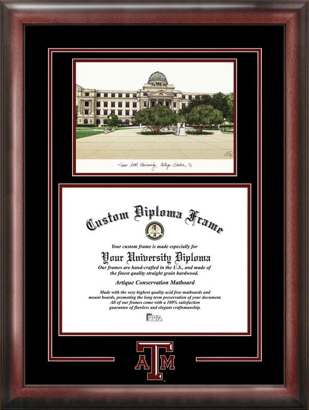 Texas A&M University Spirit  Graduate Frame with Campus Image