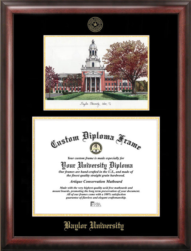 Baylor University Gold embossed diploma frame with Campus Images lithograph