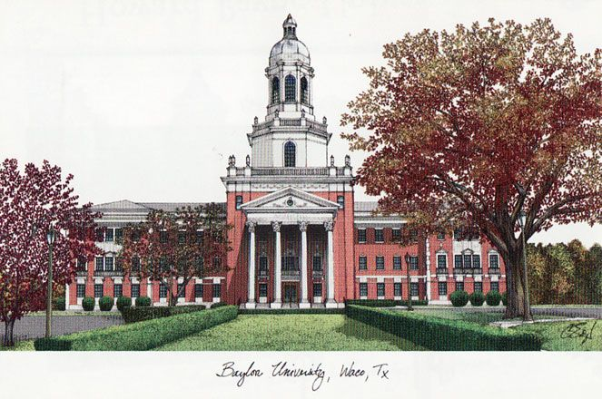 Baylor University Campus Images Lithograph Print
