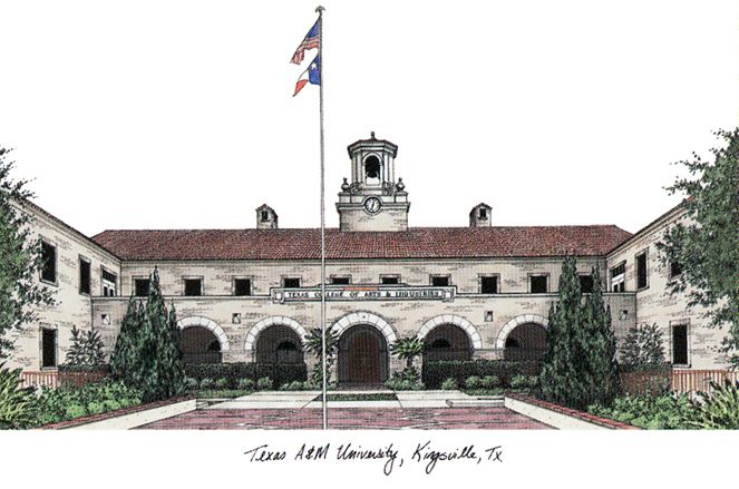 Texas A&M Kingsville University Campus Images Lithograph Print