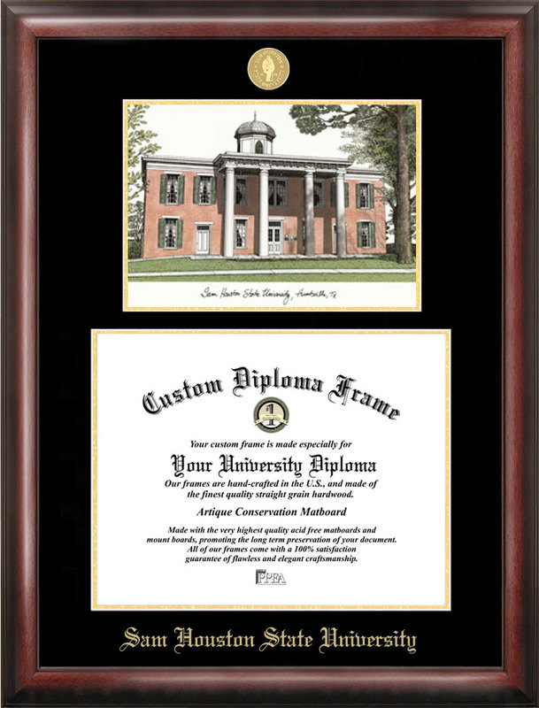 Sam Houston State Gold embossed diploma frame with Campus Images lithograph