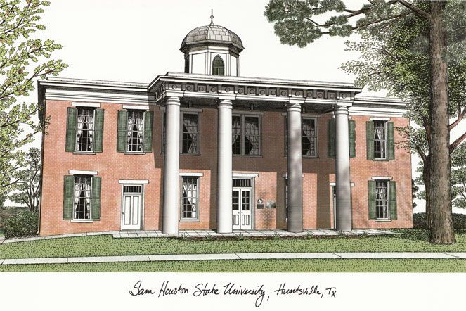 Sam Houston State Campus Images Lithograph Print