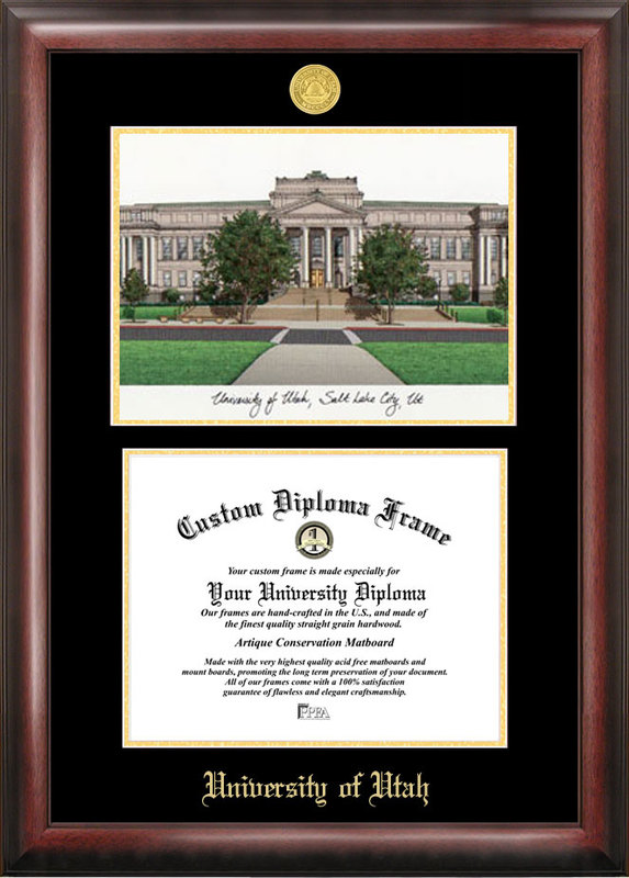 University of Utah Gold embossed diploma frame with Campus Images lithograph