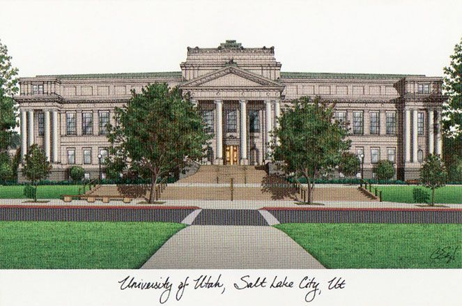 University of Utah Campus Images Lithograph Print