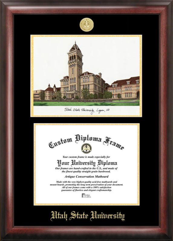 Utah State University Gold embossed diploma frame with Campus Images lithograph