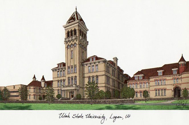 Utah State University Campus Images Lithograph Print