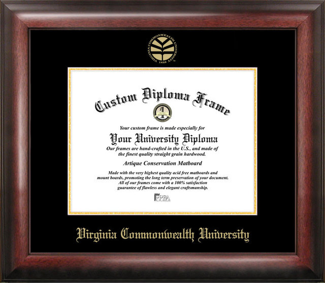 Virginia Commonwealth University Gold Embossed Diploma Frame