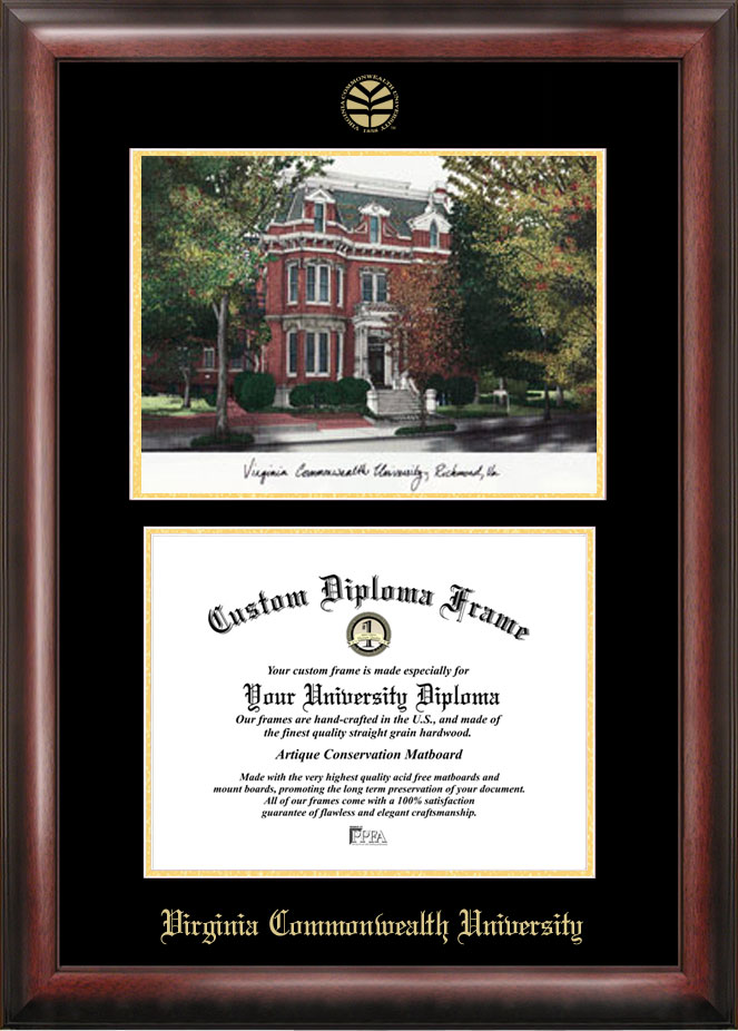 Virginia Commonwealth University Gold embossed diploma frame with Campus Images lithograph
