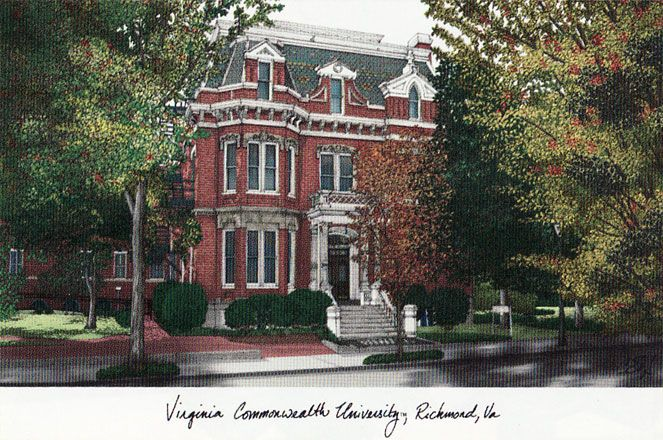 Virginia Commonwealth University Campus Images Lithograph Print