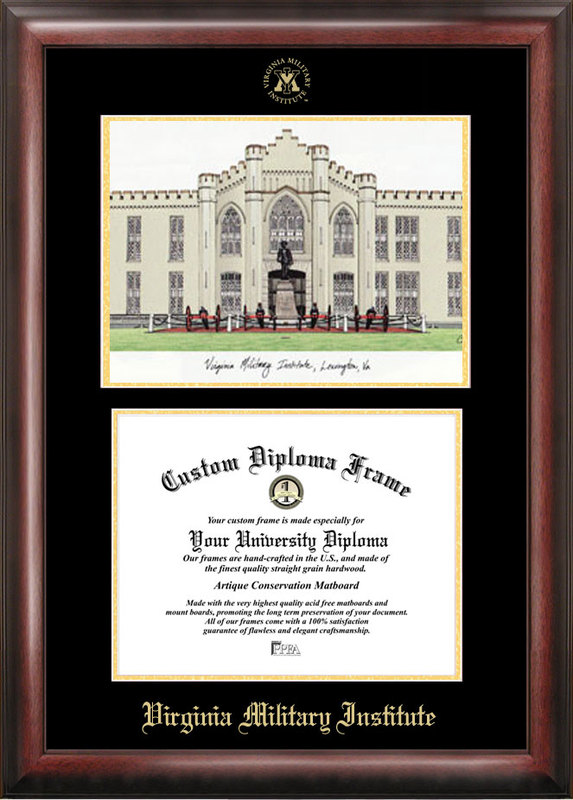 Virginia Military Institute Gold embossed diploma frame with Campus Images lithograph