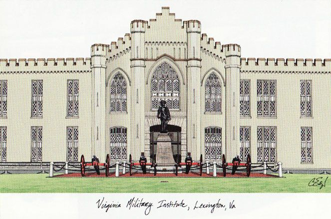 Virginia Military Institute Campus Images Lithograph Print
