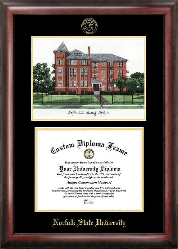 Norfolk State Gold embossed diploma frame with Campus Images lithograph