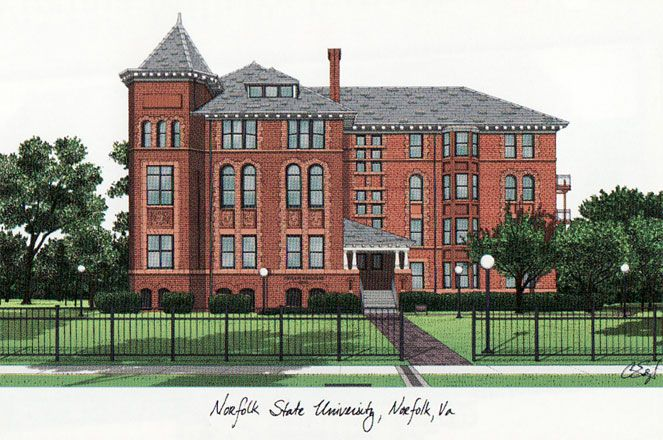 Norfolk State Campus Images Lithograph Print