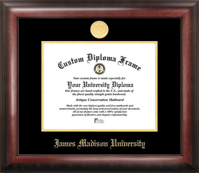 James Madison University Gold Embossed Diploma Frame