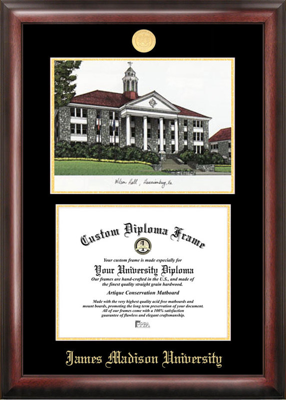 James Madison University Gold embossed diploma frame with Campus Images lithograph
