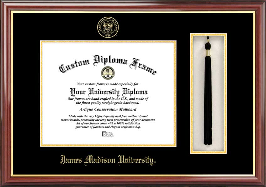 James Madison University  Tassel Box and Diploma Frame