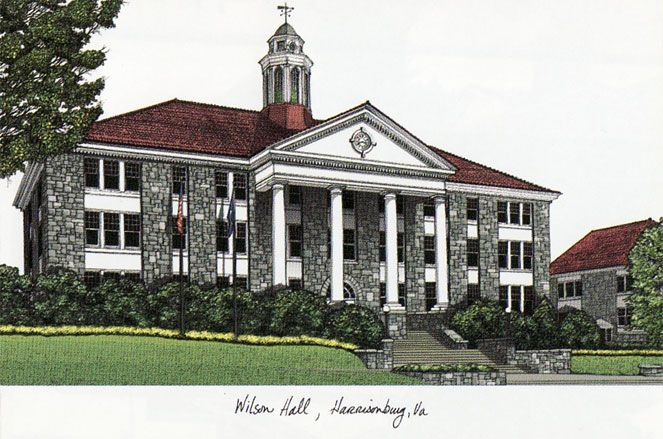 James Madison University Campus Images Lithograph Print
