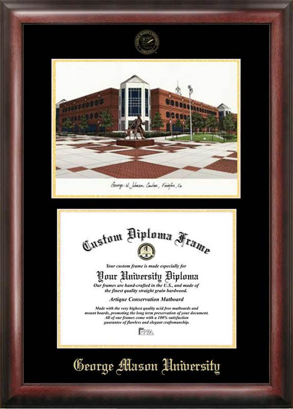 George Mason University Gold embossed diploma frame with Campus Images lithograph