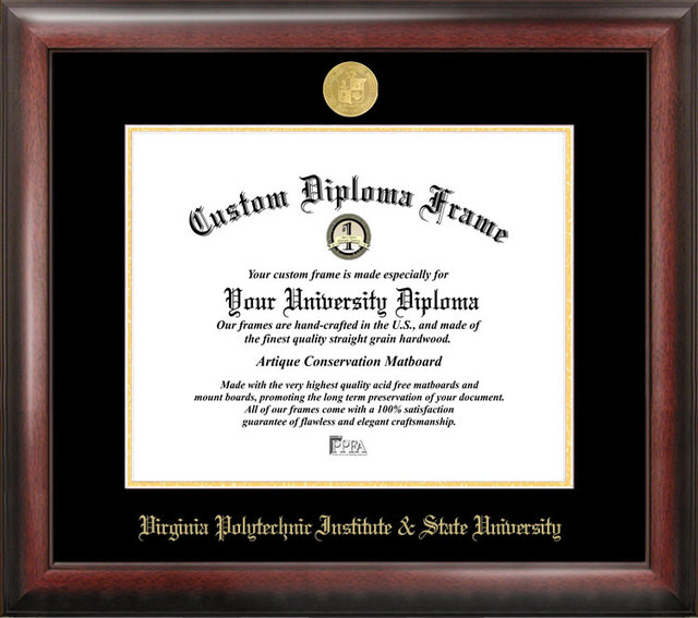 Virginia Tech Gold Embossed Diploma Frame