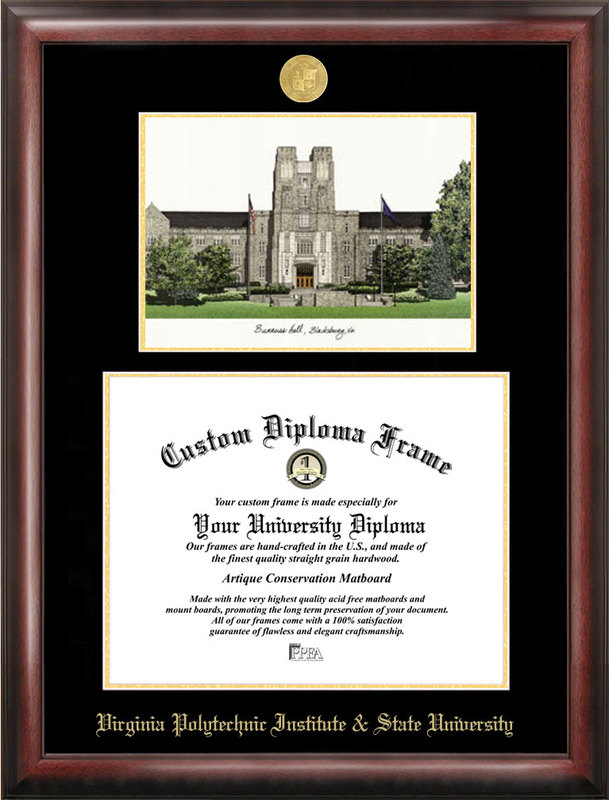 Virginia Tech Gold embossed diploma frame with Campus Images lithograph