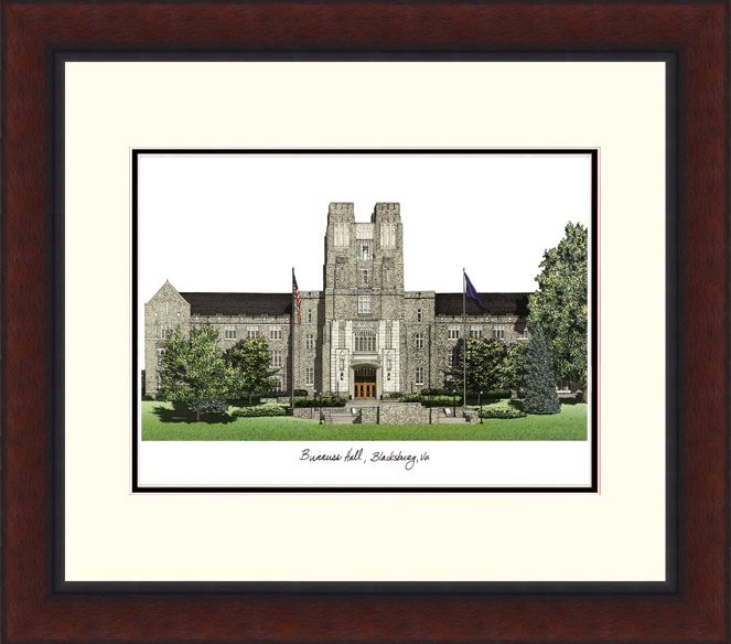 Virginia Tech Campus Legacy Alumnus Framed Lithograph