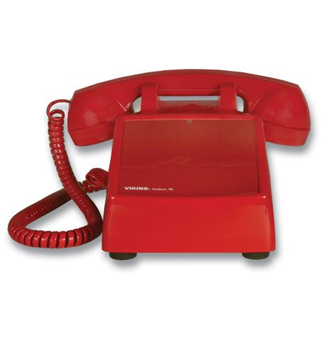 Viking Electronics No Dial Desk Phone - Red - VK-K-1500P-D