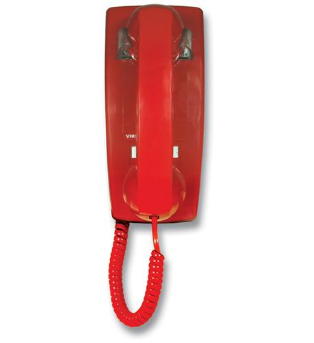 Viking Electronics RED NO DIAL WALL PHONE WITH RINGER - VK-K-1500P-W - VK-K-1500P-W